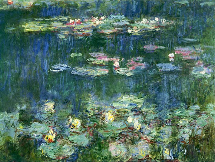 Claude Monet Green Reflections III (right detail) stretched canvas art print
