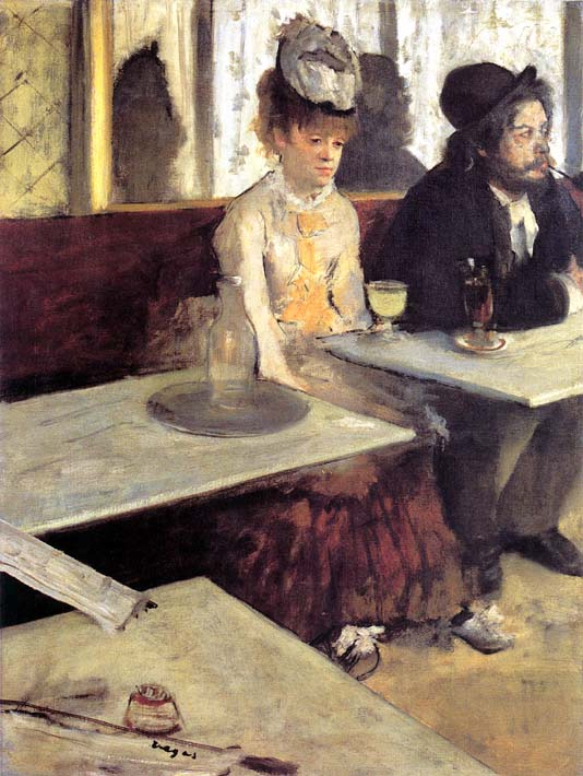Edgar Degas The Absinthe Drinker in a Cafe stretched canvas art print