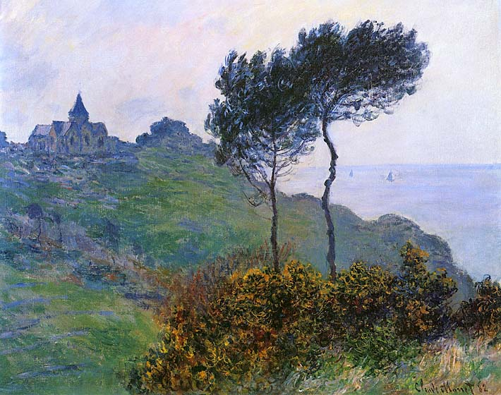 Claude Monet The Church at Varengeville, Grey Weather stretched canvas art print