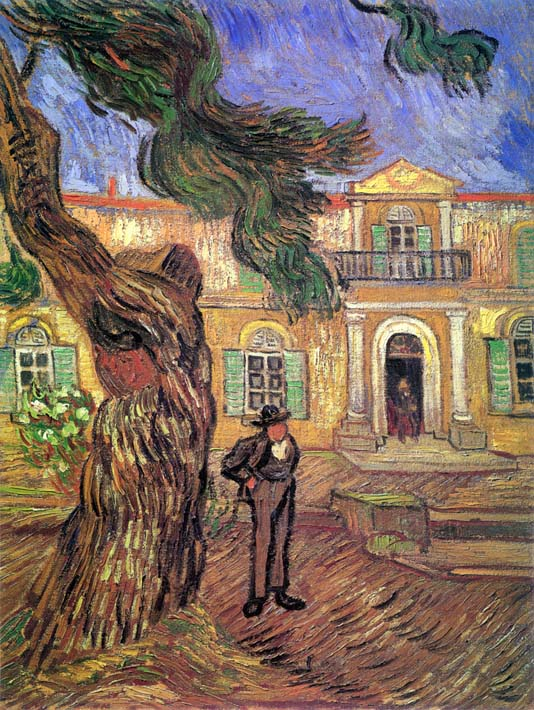 Vincent van Gogh Pine Tree and Figure in Front of the Saint-Paul Hospital stretched canvas art print