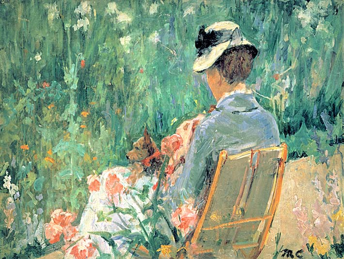 Mary Cassatt Lydia Seated in the Garden with a Dog stretched canvas art print
