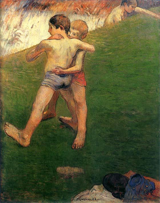 Paul Gauguin Boys Wrestling stretched canvas art print