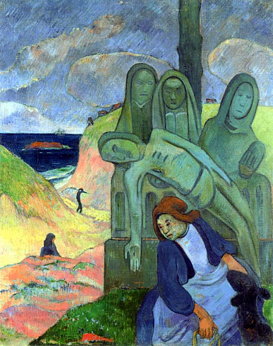 Paul Gauguin Green Christ stretched canvas art print