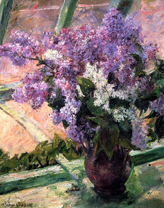 Mary Cassatt Lilacs in the Window stretched canvas art print