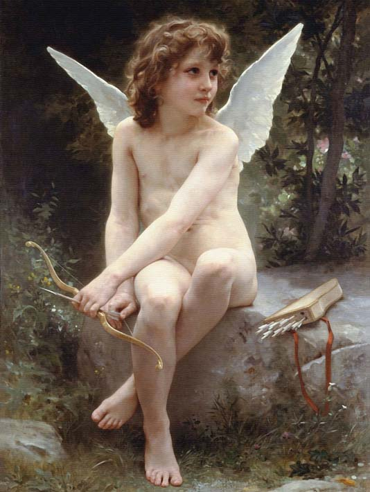 William Bouguereau Love on the Look Out stretched canvas art print