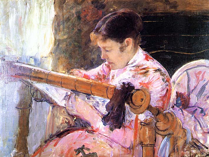 Mary Cassatt Lydia at the Tapestry Loom stretched canvas art print