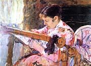 Mary Cassatt Lydia At The Tapestry Loom canvas prints
