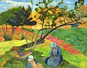 Paul Gauguin Landscape with Two Breton Women