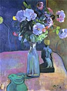 Paul Gauguin Roses and Statuette