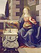 Leonardo Da Vinci The Annunciation, Virgin Mary detail