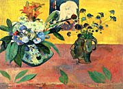 Paul Gauguin Self Portrait with Japanese Print and Flowers