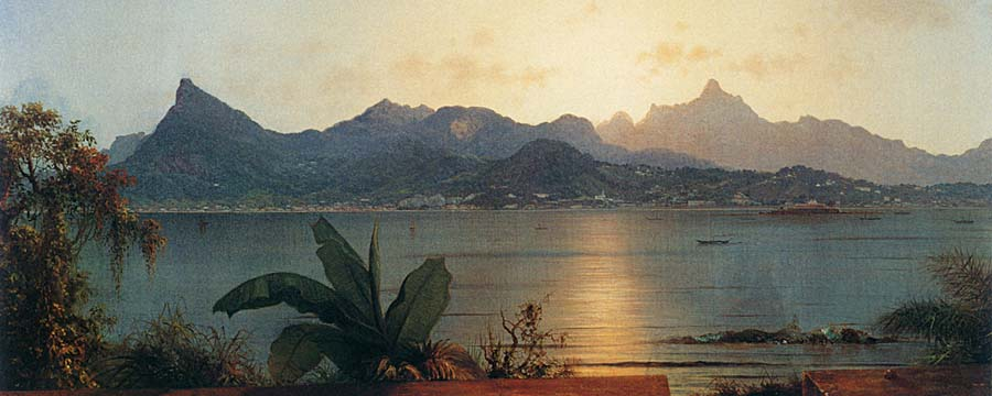 Martin Johnson Heade Sunset Harbor at Rio de Janeiro stretched canvas art print