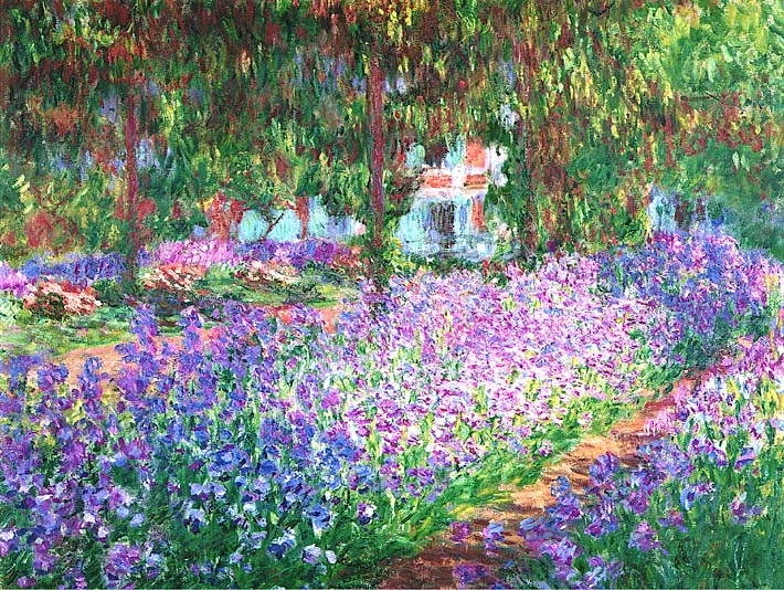 Claude Monet The Artist's Garden at Giverny (detail) stretched canvas art print
