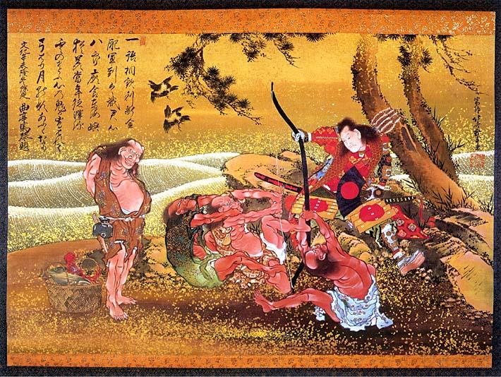 Katsushika Hokusai Tametomo and the Demons at Onigashima stretched canvas art print