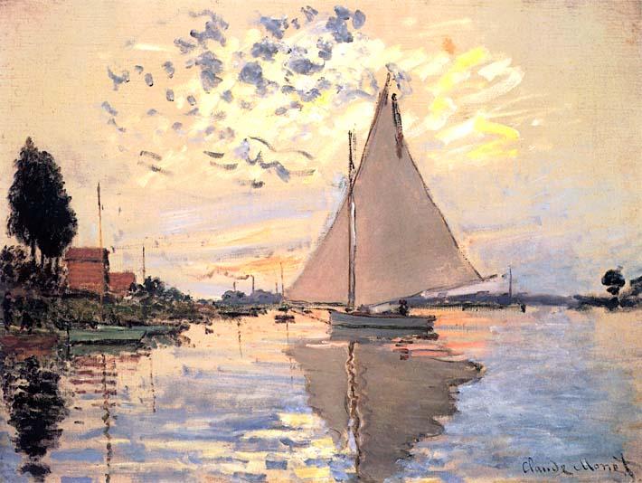 Claude Monet Sailboat at Petit-Gennevilliers stretched canvas art print