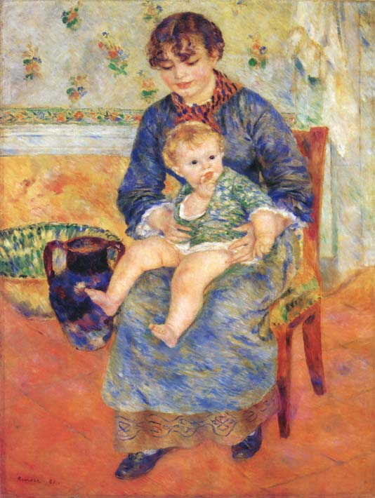 Pierre Auguste Renoir Mother and Child in a Chair stretched canvas art print