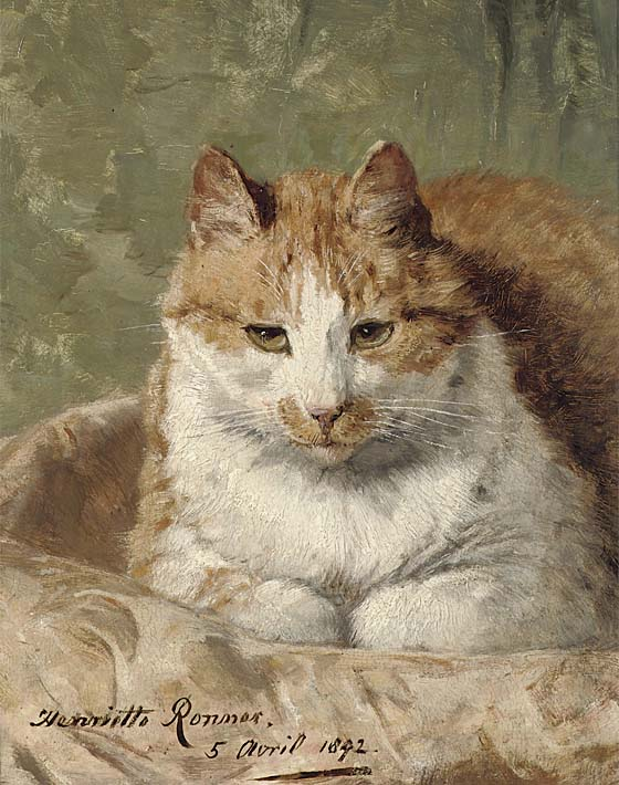 Henriette Ronner Knip Carefree Cat stretched canvas art print