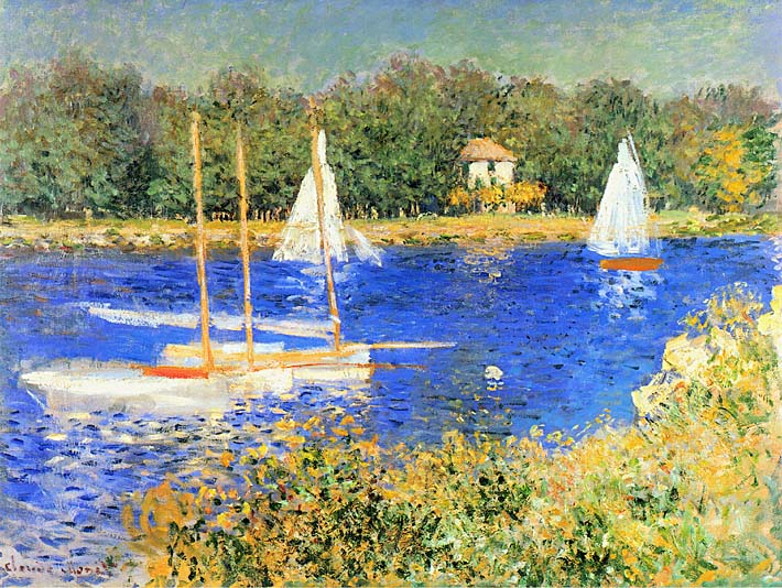 Claude Monet Sailboats at the Basin at Argenteuil stretched canvas art print