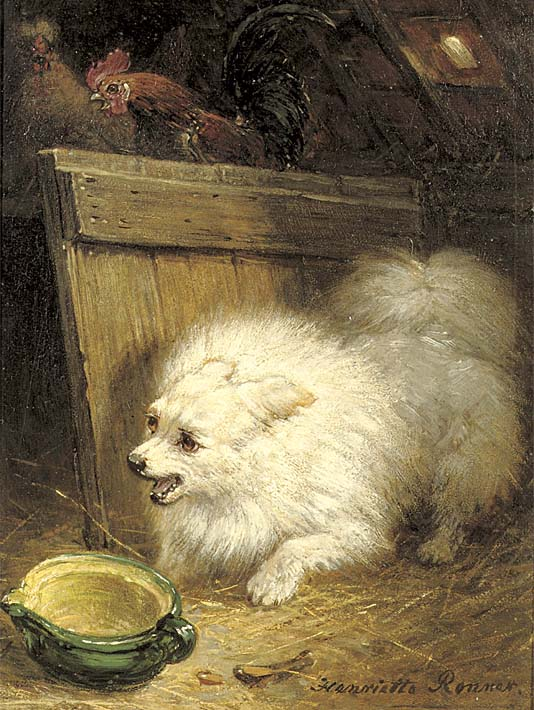 Henriette Ronner Knip In the Barn stretched canvas art print