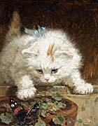Henriette Ronner Knip A Kitten Chasing a Butterfly