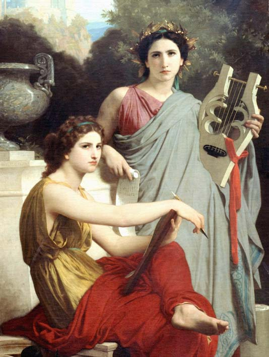 William Bouguereau Art and Literature (detail) stretched canvas art print