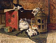 Henriette Ronner Knip A Mother Cat Watching Her Kittens Playing