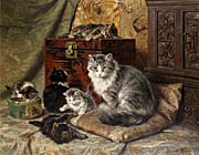 Henriette Ronner Knip A Cat and Her Kittens at Play