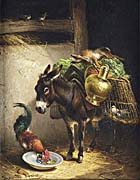 Henriette Ronner Knip A Donkey Packed with Goods and a Rooster, in a Stable