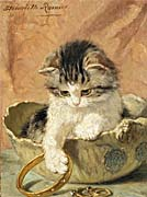 Henriette Ronner Knip A Kitten Playing with Jewelry
