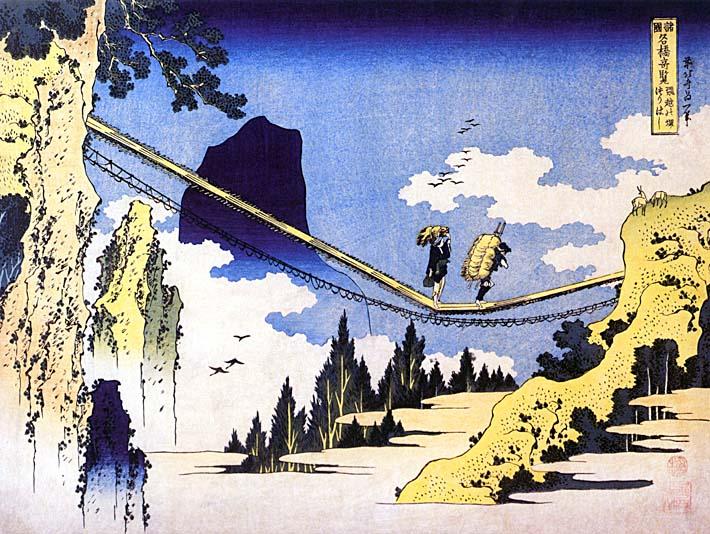 Katsushika Hokusai Farmers Crossing a Suspension Bridge on the Border of the Hilda and Etchu Provinces stretched canvas art print