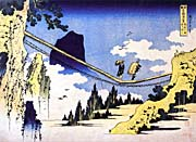 Katsushika Hokusai Farmers Crossing a Suspension Bridge on the Border of the Hilda and Etchu Provinces