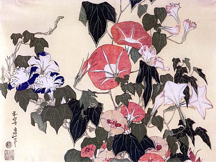Katsushika Hokusai Morning Glories and Tree Frog stretched canvas art print