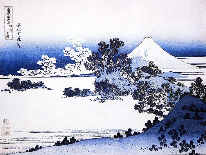Katsushika Hokusai Fuji seen from Shichirigahama Beach in the Sagami Province stretched canvas art print
