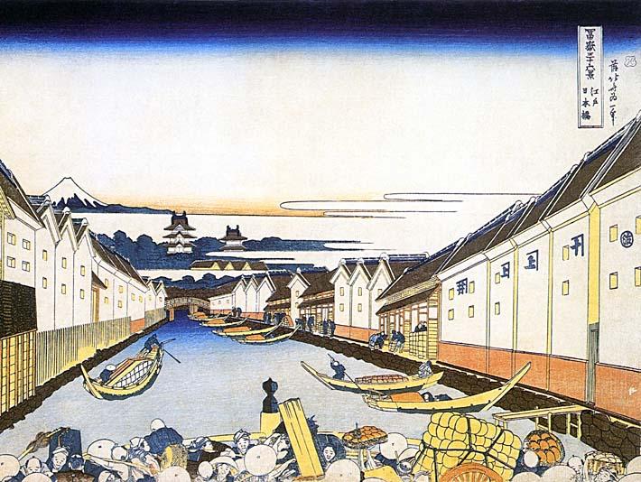 Katsushika Hokusai Mount Fuji and Edo Castle seen from Nihonbashi stretched canvas art print