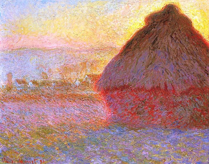 Claude Monet The Grainstack, Sunset stretched canvas art print
