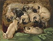 Henriette Ronner Knip A Litter of Pugs