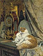 Henriette Ronner Knip A Mother Cat and Her Kitten with a Bracket Clock