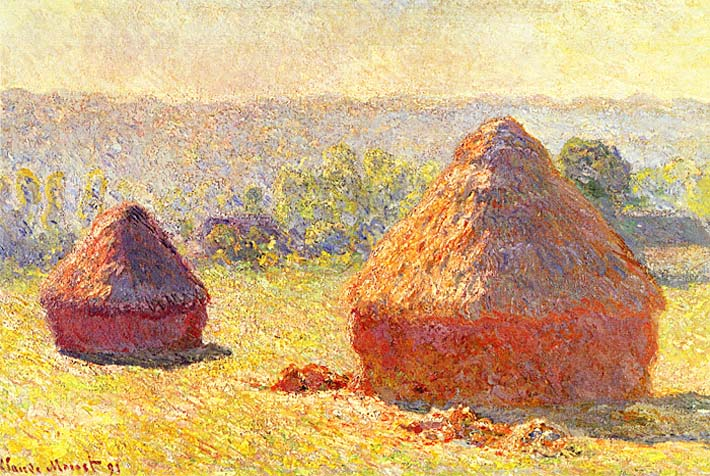 Claude Monet Haystacks, End of Summer, Morning stretched canvas art print