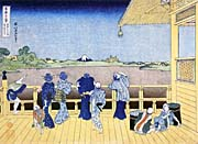 Katsushika Hokusai People on the Balcony of the Gohyaku Rakan Temple