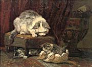 Henriette Ronner Knip A Mother Cat Watching Her Kittens Play