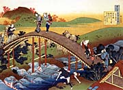 Katsushika Hokusai Travelers on the Bridge near the Ono Waterfall on the Kisokaido Road