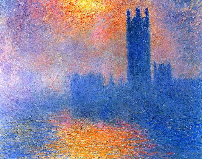 Claude Monet Houses of Parliament, London, Sun Breaking Through the Fog stretched canvas art print