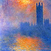 Claude Monet Houses of Parliament, Sun Shining Through a Gap in the Fog
