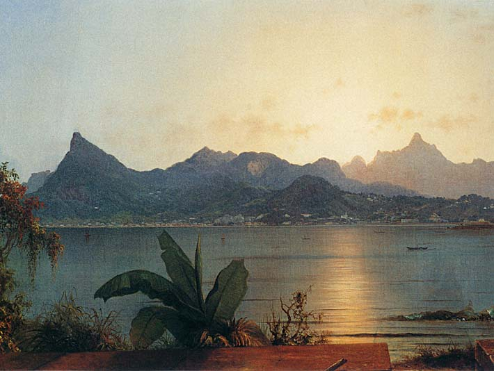Martin Johnson Heade Sunset Harbor at Rio de Janeiro (detail) stretched canvas art print