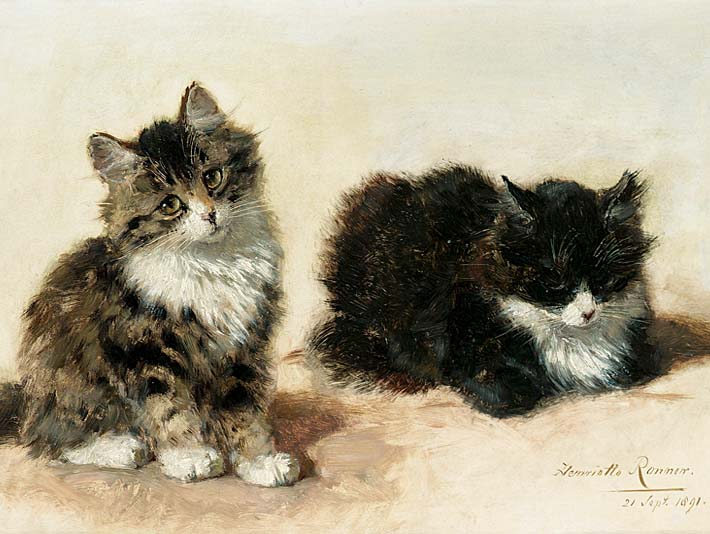 Henriette Ronner Knip Banjo and his Brother stretched canvas art print