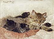 Henriette Ronner Knip Cat and Kittens