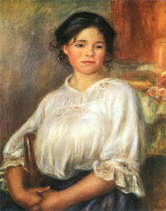 Pierre Auguste Renoir Young Girl Seated stretched canvas art print