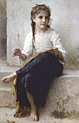 William Bouguereau Young Seamstress Sewing