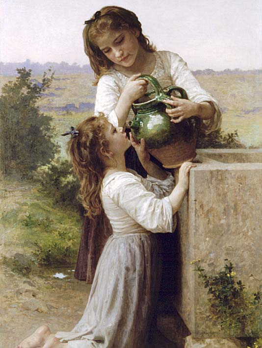 William Bouguereau At the Fountain stretched canvas art print