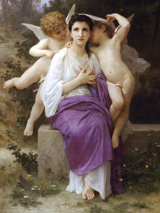 William Bouguereau The Heart's Awakening stretched canvas art print